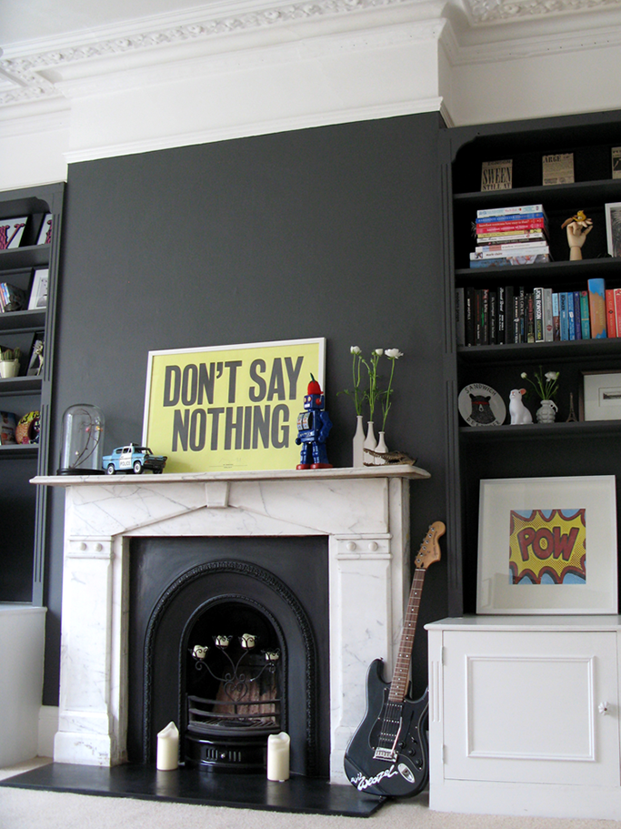 How to decorate a dark room tile mountain Fireplace feature wall colour