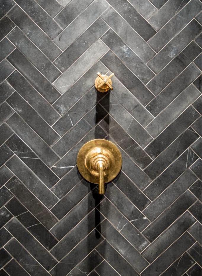 Creative Stunning Bathroom Design With White Porcelain Herringbone Tile Wall