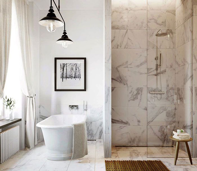 Marble Bathrooms: Porcelain Tiles That Look Like Marble!