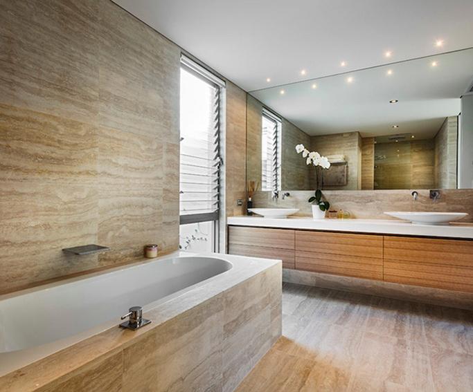 Travertine tiles and look alike alternatives tile mountain - Travertine bathroom designs ...