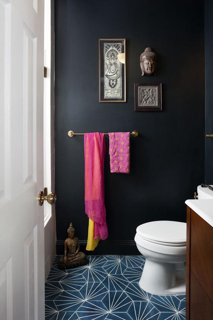 Inspiration for black bathrooms tile mountain for Bright bathroom sets