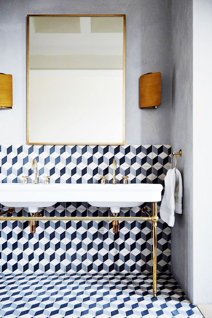 Geometric tiles with double sink tile mountain for 3d bathroom planner tiles