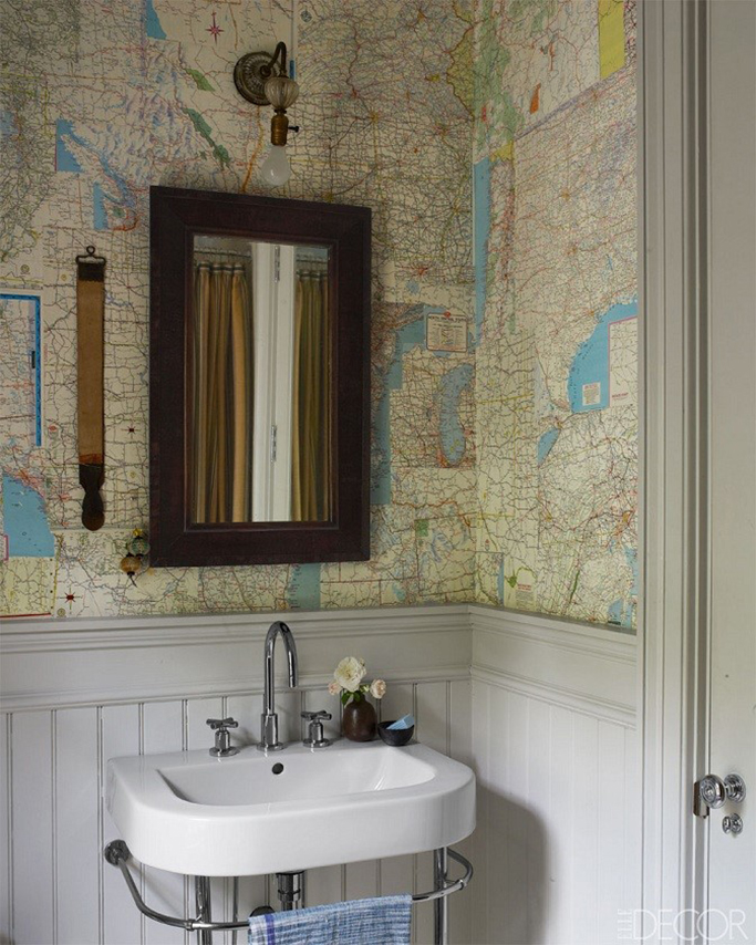 How to create a vintage style bathroom tile mountain for Vintage bathroom wallpaper