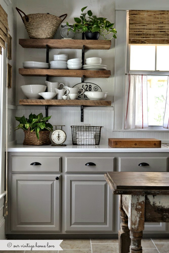 Chunky Wooden Kitchen Shelves