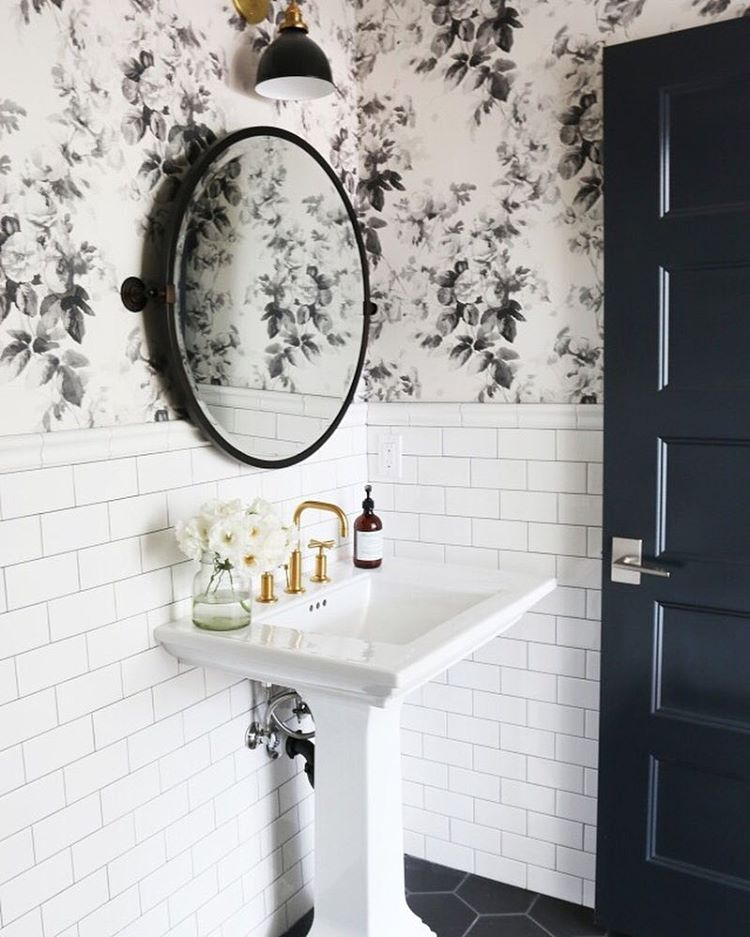 How to combine wallpaper and tiles in the bathroom tile for Dark bathroom wallpaper