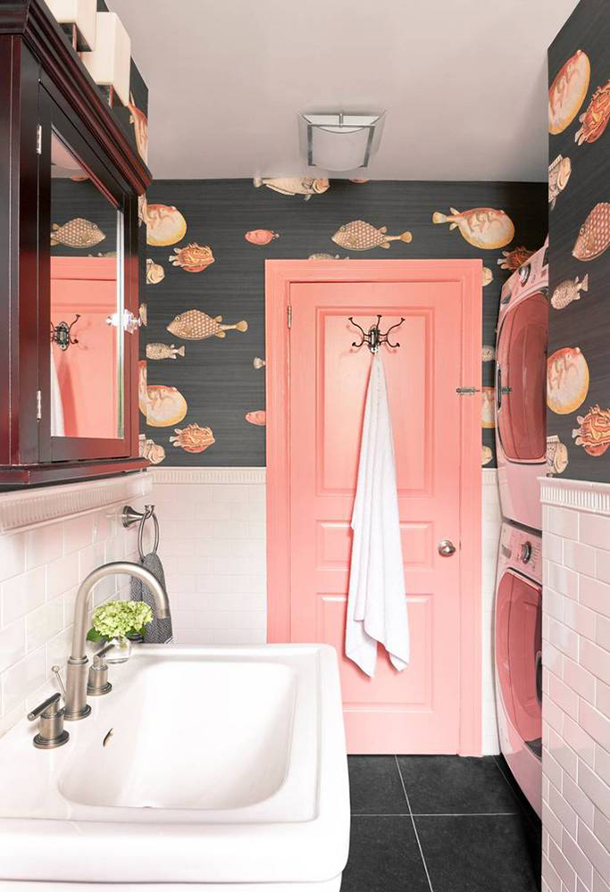 How To Combine Wallpaper And Tiles In The Bathroom Tile Mountain