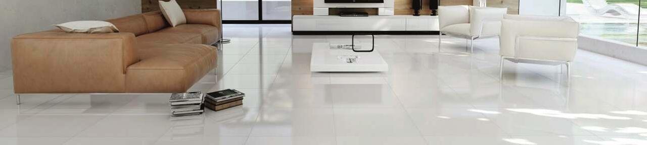 White Gloss Floor Tiles