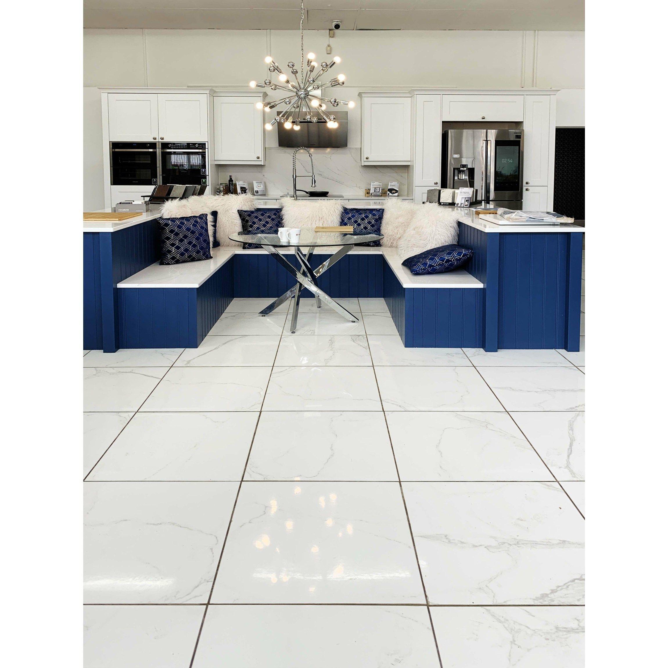 Carrara White Gloss Marble Effect Porcelain Floor Tile   Tiles ...
