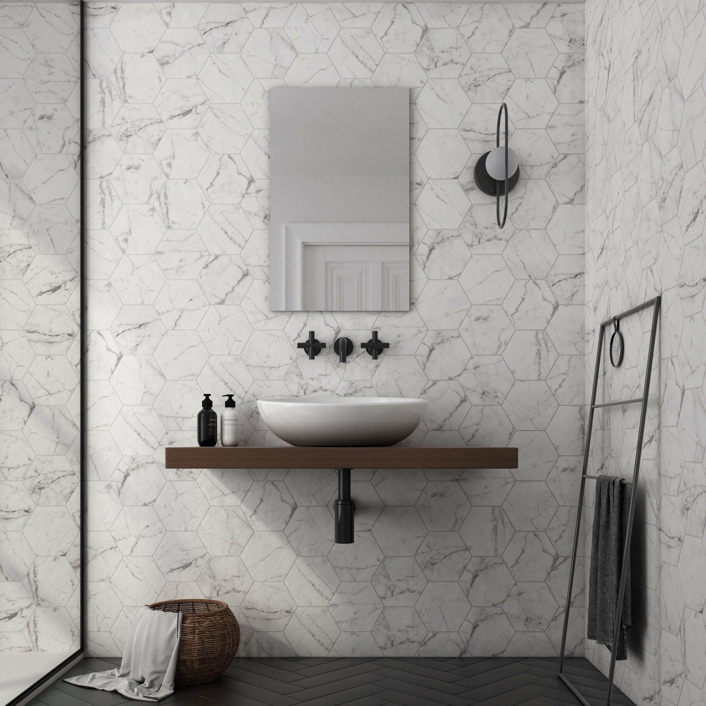Hexagon Carrara Marble Effect Wall, Carrara Marble Tiles Bathroom