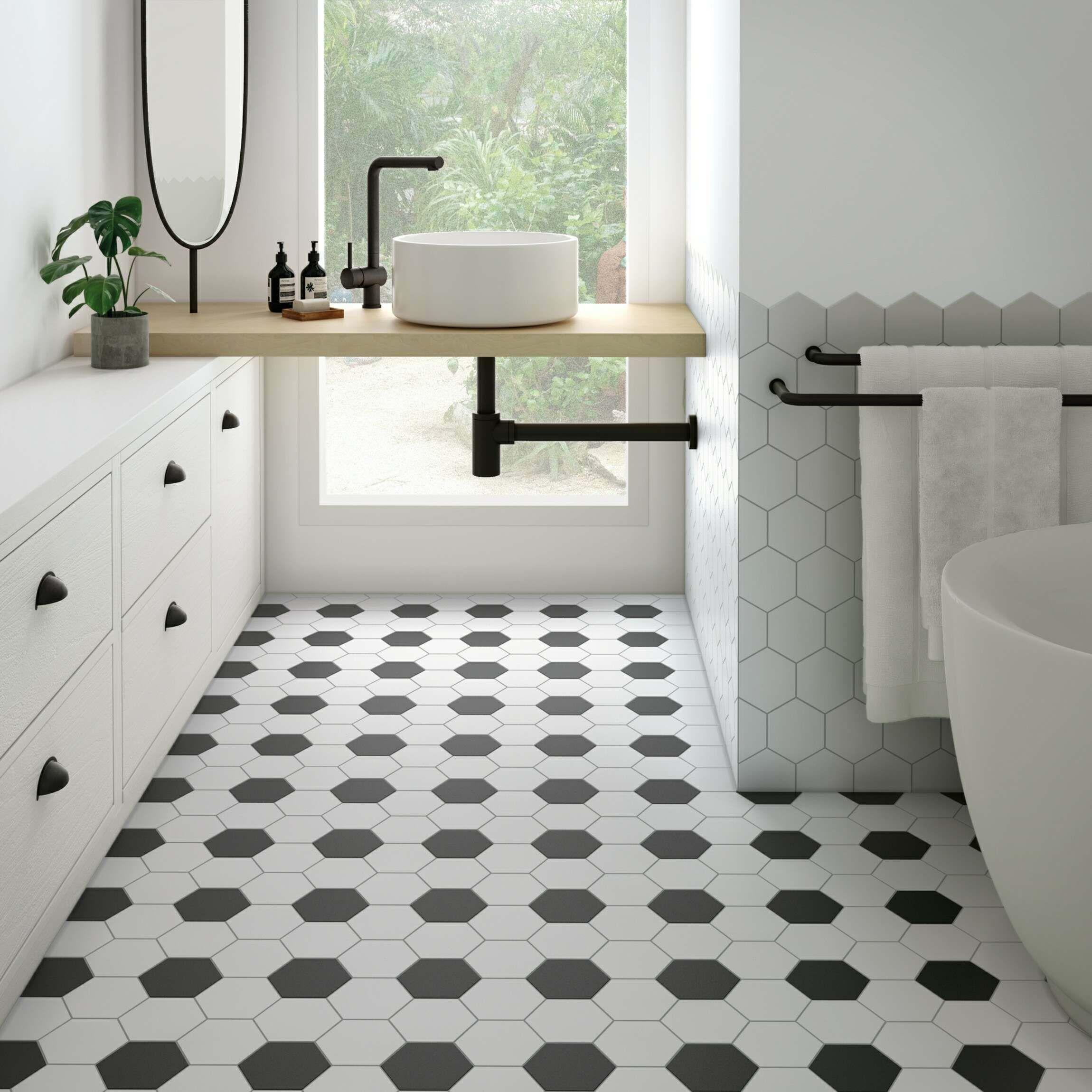Kromatika Hexagon White Porcelain Wall, Black And White Bathroom Tile