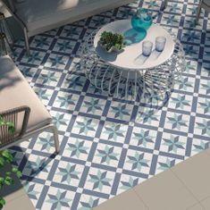 Blue Patterned Floor Tiles