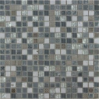Grey Stone and Glass Mosaic 15x15