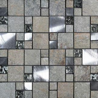 Comet Grey Square Stone Mosaic 300x300
