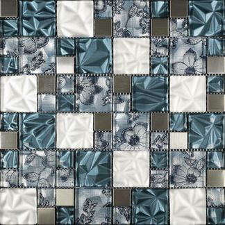Fabric Blue Floral Glass Mosaic