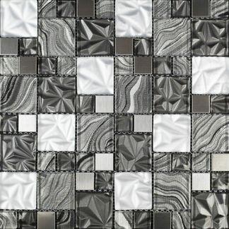Fabric Grey Swirl Glass Mosaic