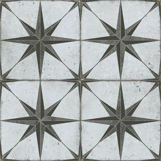 Edinburgh Grey Star Patterned Porcelain Wall and Floor Tile