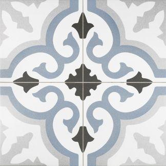 Lancaster Blue Patterned Porcelain Wall and Floor Tile