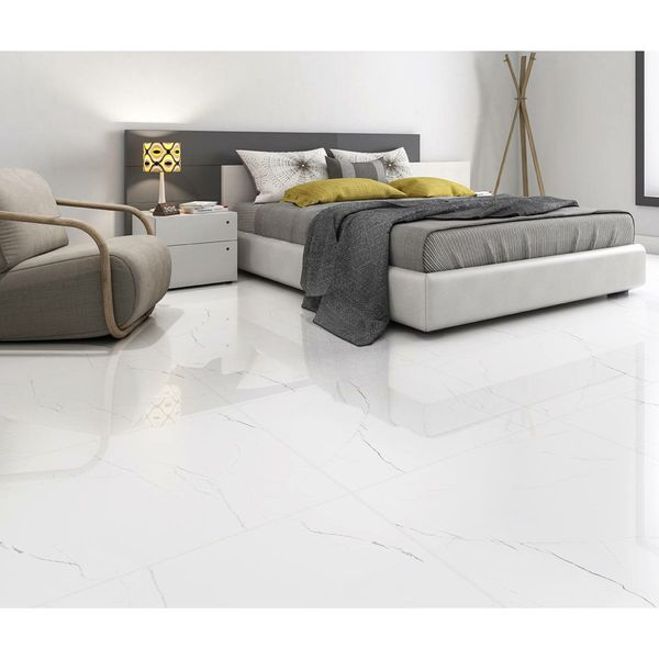 Barbados White Marble Effect Wall and Floor Tiles