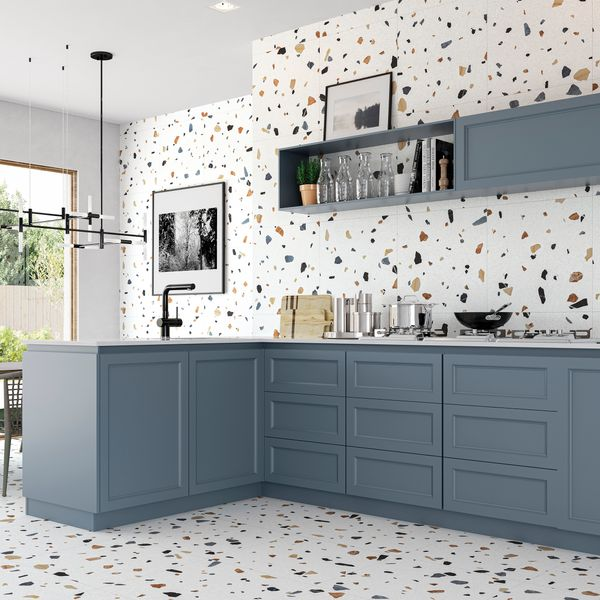 Trend White Terrazo Multicolour Wall and Floor Tile