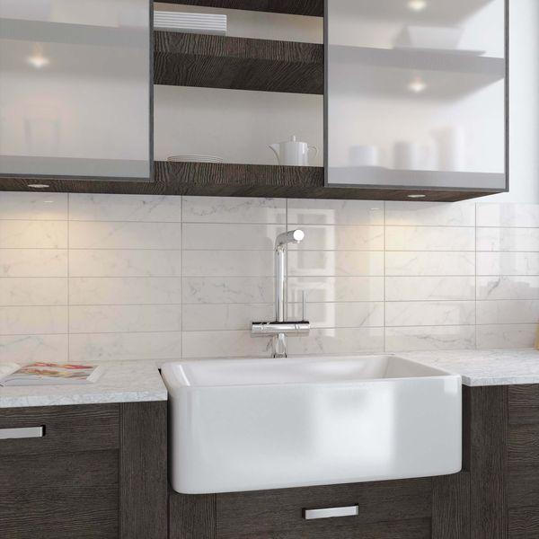 Carrara White Marble Effect Gloss Brick Wall Tile