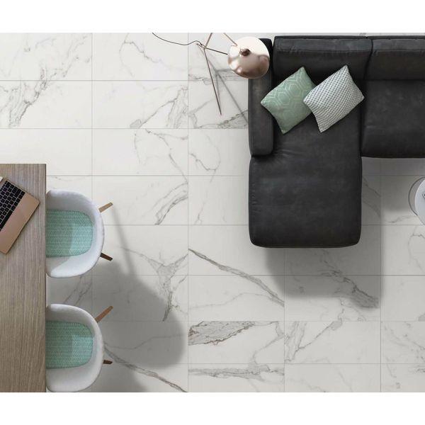 Carrara White Gloss Marble Effect Porcelain Wall and Floor Tile