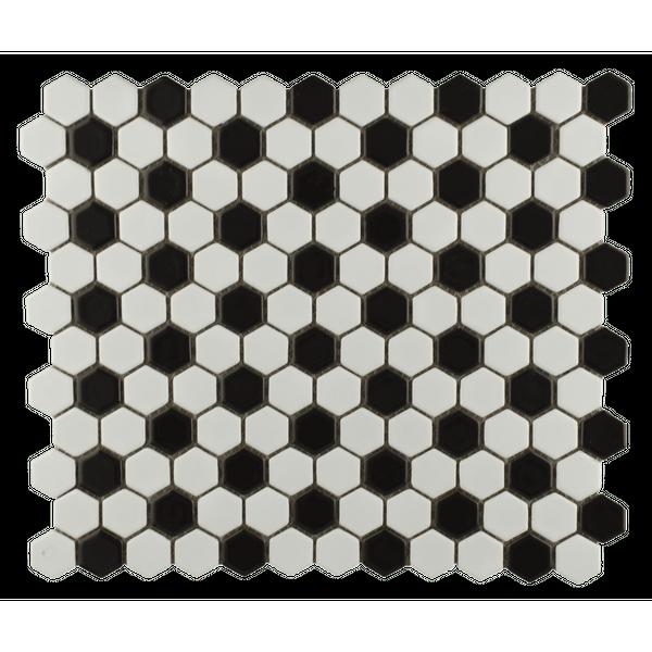 Chequered Hexagon Black White Mosaic