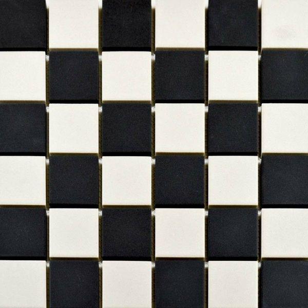 Victoria White & Black Chequer Mosaic