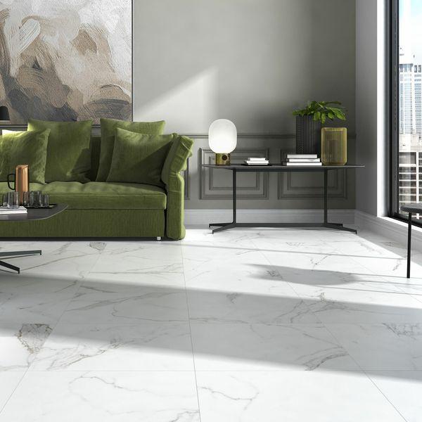 Carrara White Marble Effect Matt Floor Tile