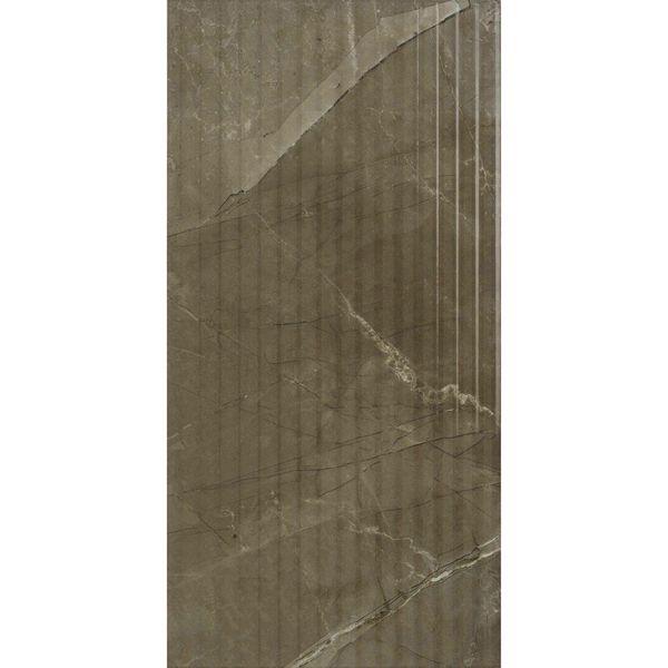 Anubis Dark Brown Gloss Marble Effect Linear Feature Tile