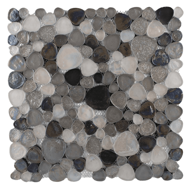Hammered Silver Pebble Effect Glass Mosaic Mix
