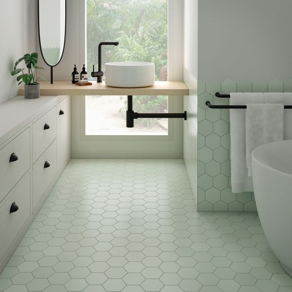 Kromatika Hexagon Mint Porcelain Wall & Floor Tile