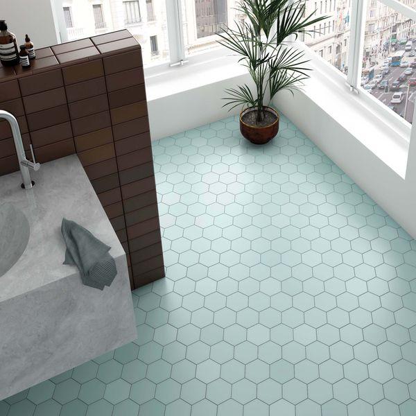 Kromatika Hexagon Bleu Clair Porcelain Wall & Floor Tile