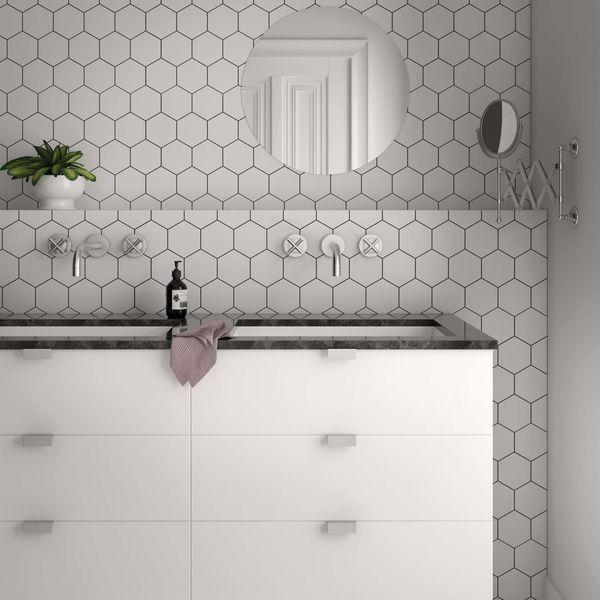 Kromatika Hexagon White Porcelain Wall & Floor Tile