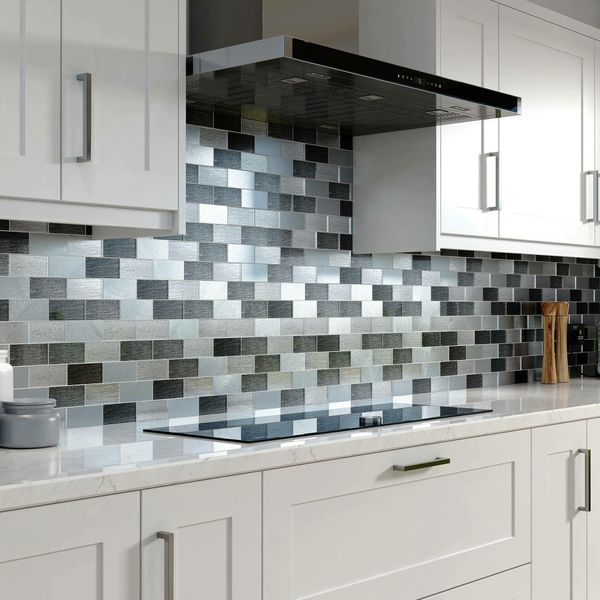 Metallic Silver Grey Glass Mosaic