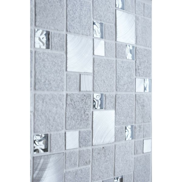 Comet White Square Stone Mosaic 300x300