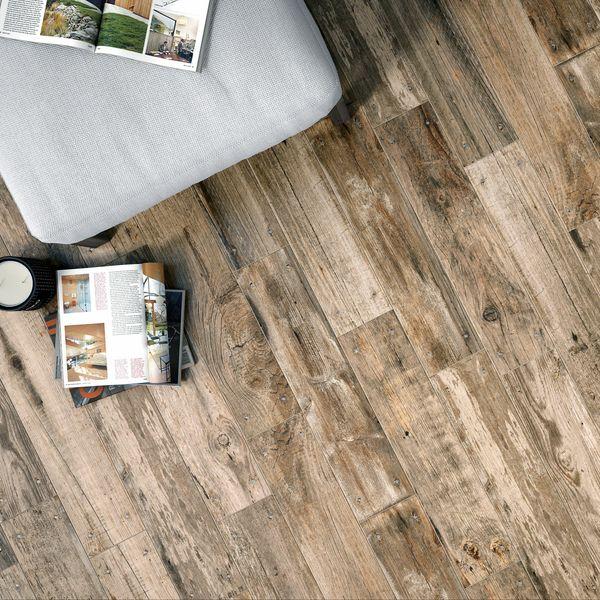 Reclaimed Dark Oak Nailed Wood Effect Floor Tile