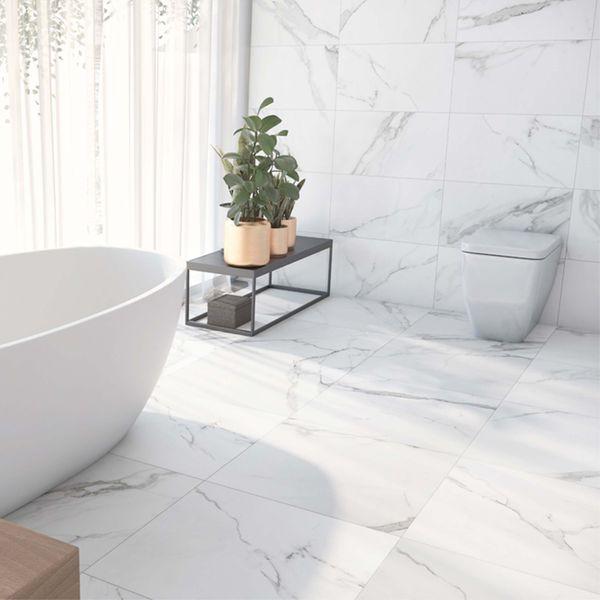 Place White Matt Marble Effect Floor Tiles