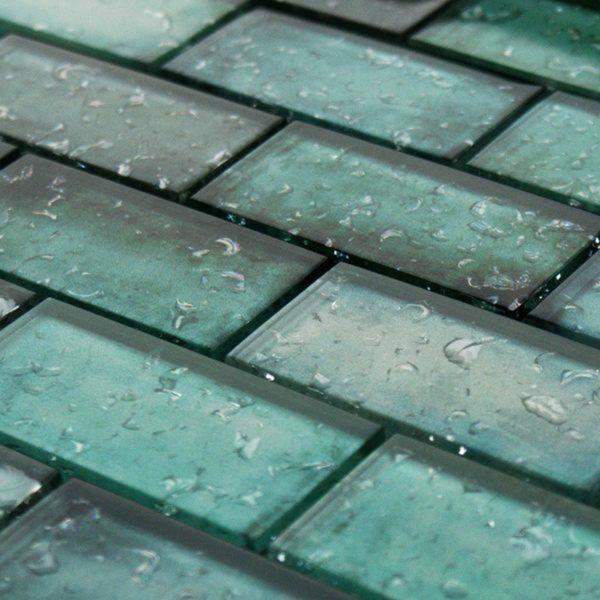 Raindrop Green Glass Mosaic 300x300