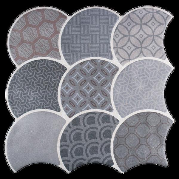 Scale Boho Grey Wall and Floor Tiles