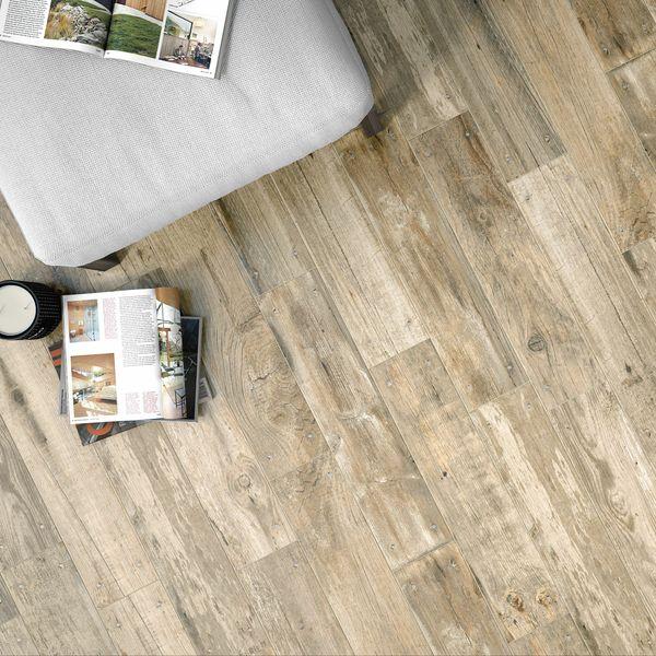 Reclaimed Natural Beige Oak Nailed Wood Effect Floor Tile