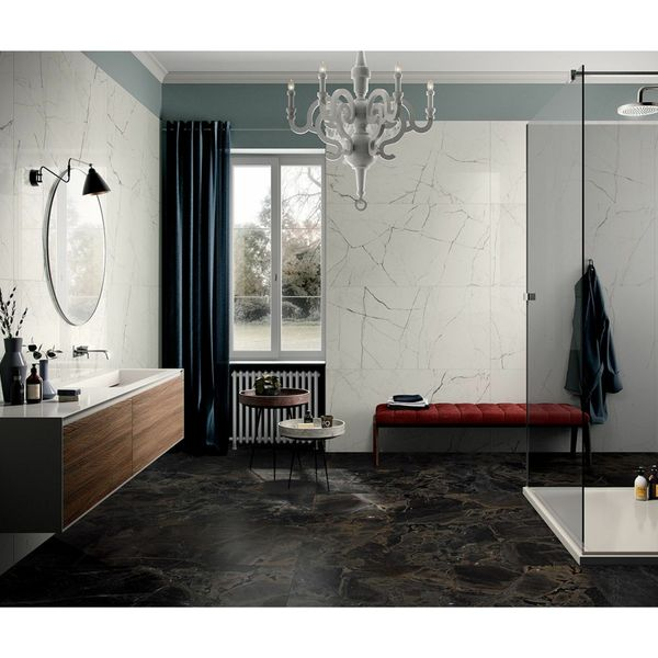 The Room White Polished Porcelain Wall and Floor Tile