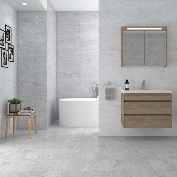 Naples Gloss Travertine Effect Grey Floor Tile