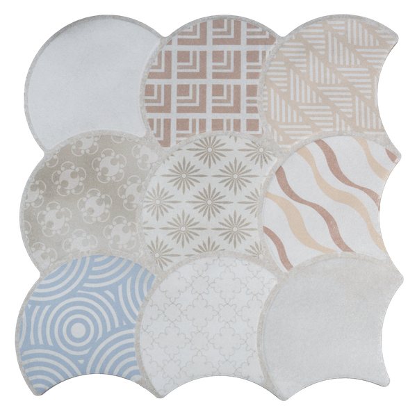 Scale Boho White Wall and Floor Tiles