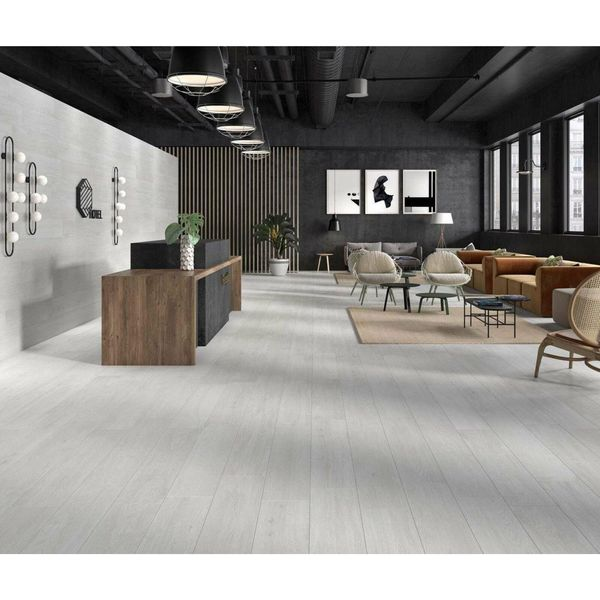 Tacora White Wood Effect Porcelain Wall & Floor Tile