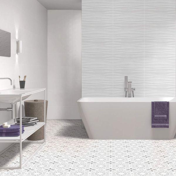 Sweet White Waves Wall Tile