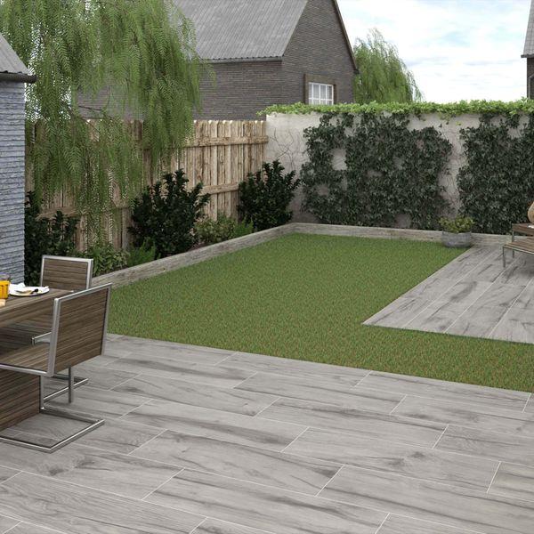 Vertige Wood Effect Grey Outdoor Slab Tiles